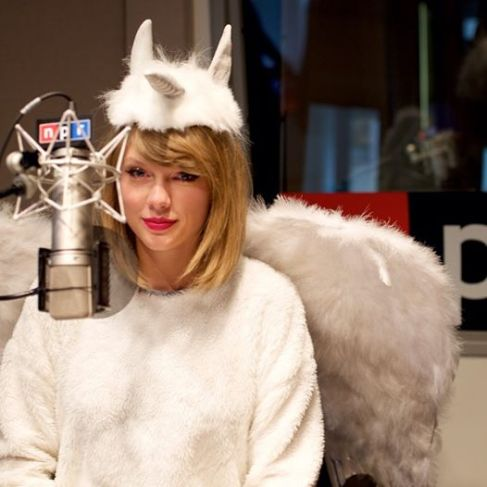 Swift celebrates Halloween at the NPR studios in New York